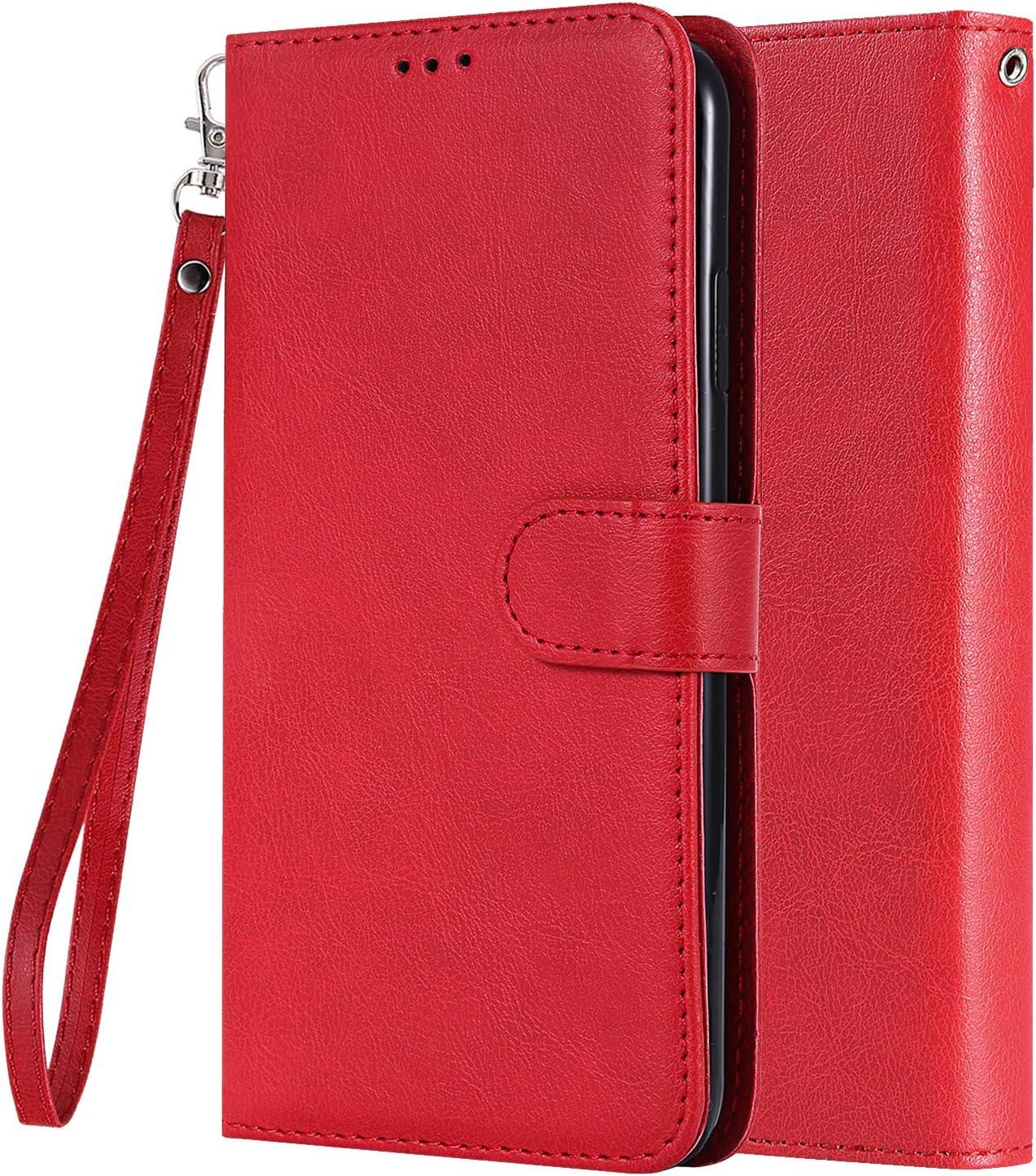LEMORRY Carcasa para Xiaomi Mi A2 Lite (Redmi 6 Pro) Funda Estuches Multifuncional Piel Cuero Billetera Cover con 2in1 Tarjeteros Magnética Suave TPU Silicona Tapa Funda Xiaomi Mi A2 Lite (Rojo)