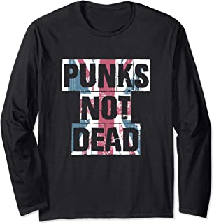Punk's Not Dead   Distressed Faded Union Jack Flag Style  Long Sleeve T-Shirt