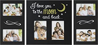 MELANNCO 3-Piece I Love You to The Moon & Back Plastic Collage Frame Set, Black