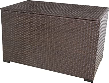 Valita Outdoor Wicker Storage Box, Big Size,Resin Brown Rattan Deck Bin with Lid, 150 Gallon,Waterproof Liner Container for P
