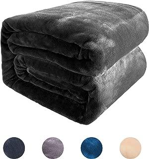 BEL TESORO Flannel Fleece Blanket Throw,300GSM All Season Lightweight Warm Soft Luxury Cozy Microfiber Superfine Polyester Blanket for Couch Bed Sofa,Travel Camping,Dark Grey