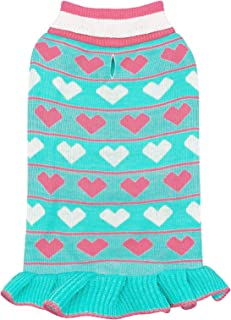 kyeese Valentine's Day Dog Sweater Dress Turtleneck Dog Apparel Heart Pattern with Leash Hole