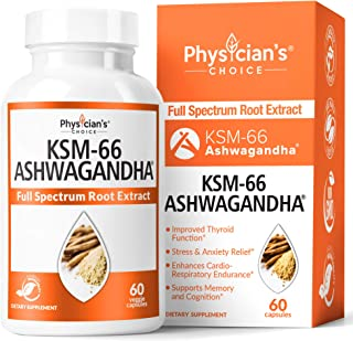 KSM-66 Ashwagandha Root Powder Extract, High Potency 5% Withanolides, 1000mg of Clinically Studied KSM66 & Black Pepper, Adrenal Support, Anxiety Relief, Thyroid Support - Vegan, Non-GMO, 60 Capsules