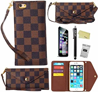 iPhone 7 Plus Case,Newest Style Luxury Deluxe Wristlet Crossbody Pouch Wallet Flip Leather Card Holders Shoulder Cover Case for iPhone 7 Plus 7+ 5.5