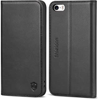 SHIELDON iPhone SE Case, iPhone 5S Wallet Case, Genuine Leather Case Slim Flip Cover with Kickstand and ID Card Holder, Magnetic Closure Compatible with iPhone SE/iPhone 5S / iPhone 5, Black