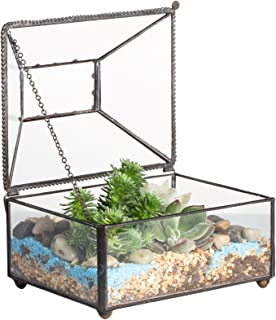 NCYP Small Glass Jewelry Trinket Storage Organizer Box with Lid for Home Decor Modern Vintage Black Geometric Clear Terrarium Indoor Polyhedron Succulent Plant Planter Display Decoration Gift