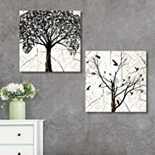 wall26 - 2 Panel Square Canvas Wall Art - Tree Silhouette Wood Effect Canvas - Giclee Print Gallery Wrap Modern Home Decor Ready to Hang - 24