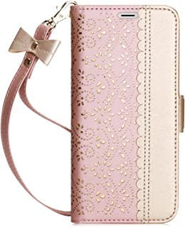 WWW Galaxy S8 Plus case, [ Mirror Series] RFID-Resisting PU Leather Case Kickstand Flip Case with Card Slots and Mirror for Samsung Galaxy S8 Plus Rose Gold