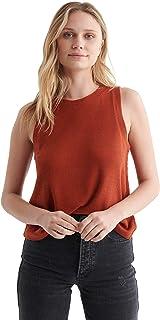Lucky Brand womens Sleeveless Crew Neck Cloud Jersey Relaxed Tank Top Shirt