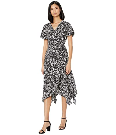 American Rose Norah Short Sleeve Printed Wrap Dress (Black/Ivory) Women