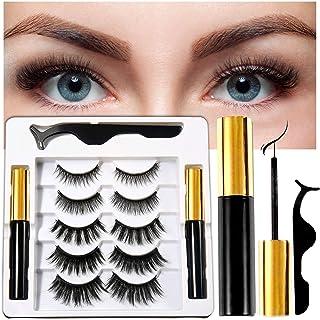 Coolke Magnetic Eyelashes with Eyeliner-2 Tubes of Magnetic Eyeliner & 5 Pairs of Magnetic Eyelashes,Magnet...