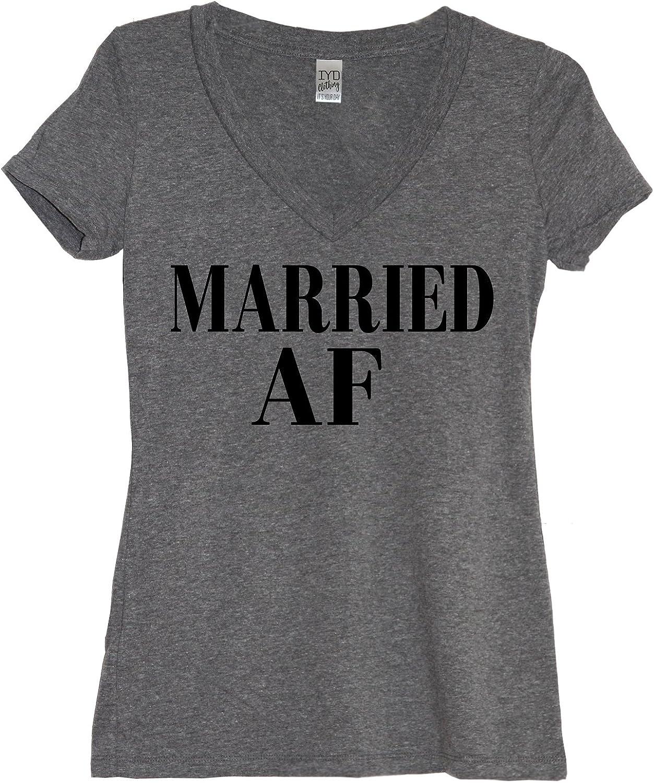 IYD Clothing  Married AF (As Fk) Women's Soft Triblend V Neck + IYD Gift Bag