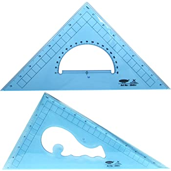 Pack of 2 Large Transparent Triangle Ruler Set Square: 12 Inch- 30/60 Degree & 9 inch 45/90 Degree | Essential for School and Work use (Inch Scale)