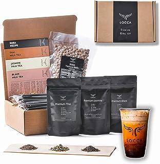 Locca Premium Bubble Tea Kit (24+ Drinks) with Boba Cards, Loose Leaf Teas, Tapioca Pearls (Boba) DIY Boba Kit with Thai, ...