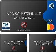 TÜV geprüfte NFC Schutzhülle 3 Stück aus Kunststoff für Kreditkarte Personalausweis EC-Karte Bankkarte - 100% NFC-Schutz - Kreditkarten Schutz-Hülle RFID-Blocker Kreditkartenhülle abgeschirmt