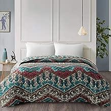 ARTALL Single Bedspread Bohemia Printed Quilt Soft Bed Blanket Brushed Microfiber Coverlet 102x96, Boho Paisley Print, King