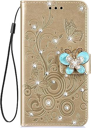 Jinghuash Kompatibel mit Huawei P Smart 2019 H�lle,Luxus Bling Glitzer Gl�nzend Strass Diamant PU Leder Flip Case Brieftasche Ledertasche Schmetterling Muster Klapph�lle Lederh�lle Handyh�lle-Gold