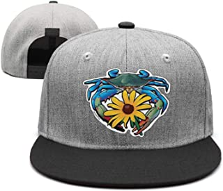 Blue Crab Maryland Black-Eyed Susan Unisex Stylish Hip hop Flat Cap Adjustable Fits Snapback hat Sport Cap One Size