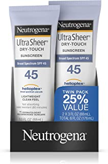 Neutrogena Ultra Sheer Dry-Touch Water Resistant and Non-Greasy Sunscreen Lotion with Broad Spectrum SPF 45, 3 fl. oz, Pack of 2
