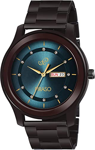New Latest Stunning Blue DIAL with Brown Stainless Steel Chain Day and Date Display Watch for Men Boys