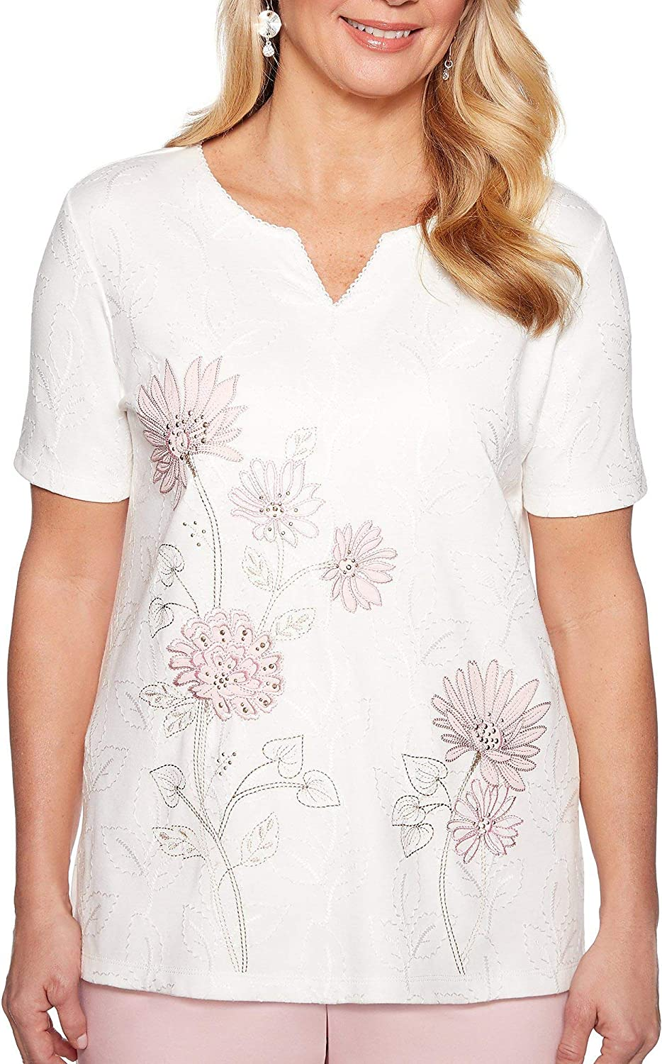 Alfred Dunner Womens Society Page Floral Embroidery Top