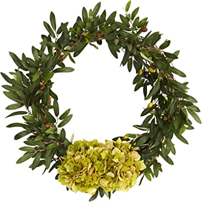 21in. Olive with Hydrangea Artificial Wreath
