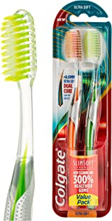 Colgate Slim Soft Advanced Ultra Soft Bristles Manual Toothbrush Value 2 Pack
