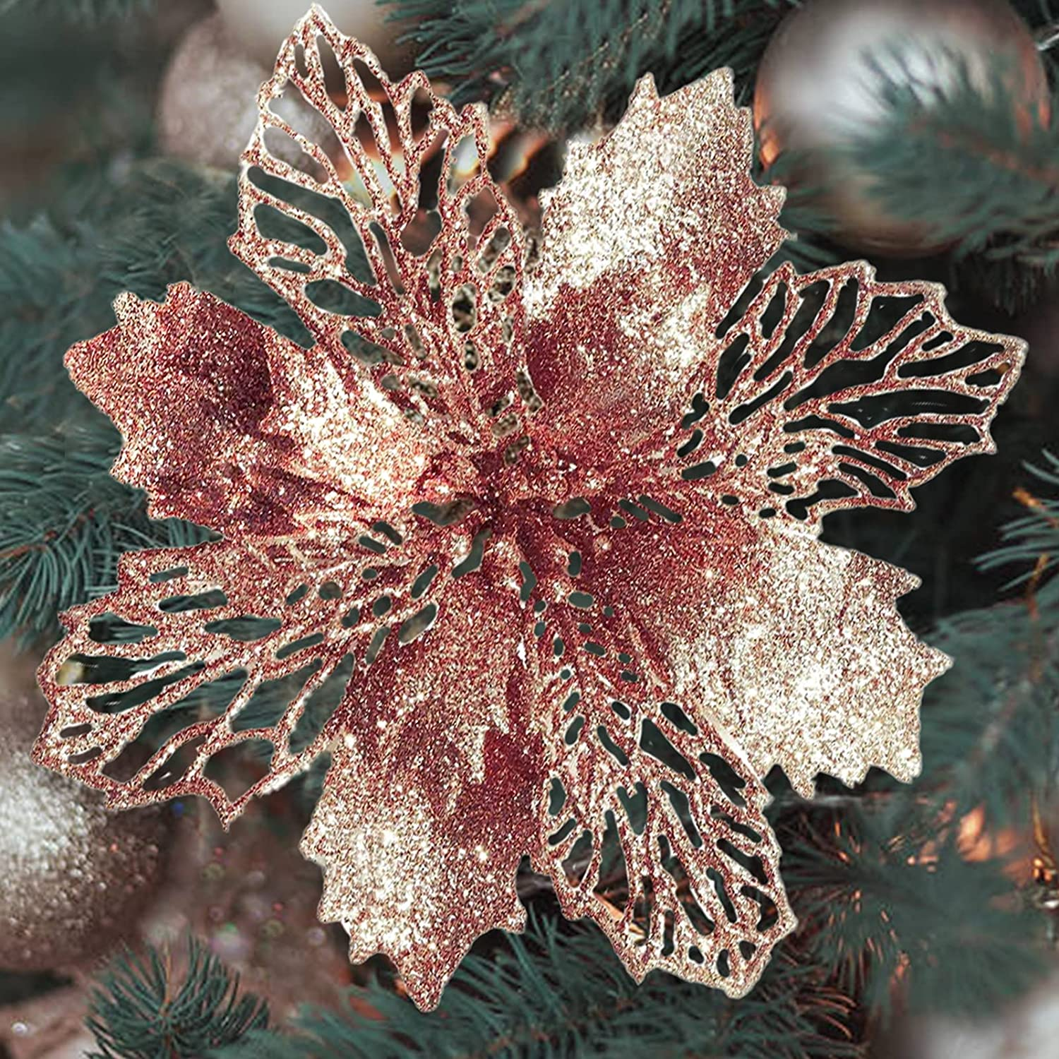 Artificial Rose Gold Christmas Flowers 24pcs Glitter Fake Poinsettia Flowers Christmas Tree New Year Ornaments Flower Decorations 6