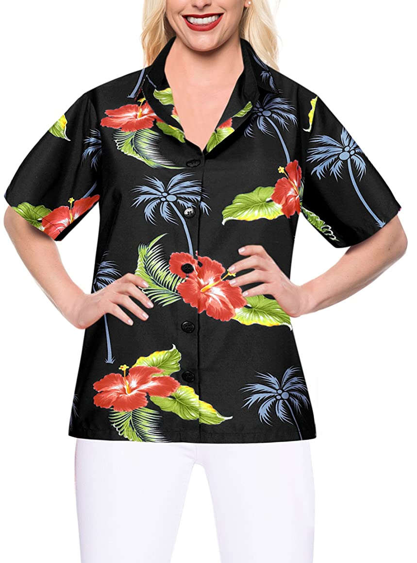 LA Leela Women's Hawaiian Shirt Blouse Beach Tank Top Short Sleeve Button Down
