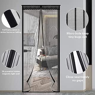 Magnetic Screen Door, 39 × 83 Inches High Density Durable Mesh Fly Mosquito Curtain, Heavy Duty Fiberglass Screen Door Easy Installation, Black