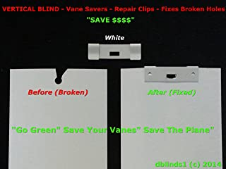 100 Pack VERTICAL BLIND Vane Saver~White Curved Repair Clips~Fixes Broken Holes (100) (100, White) (100, White)