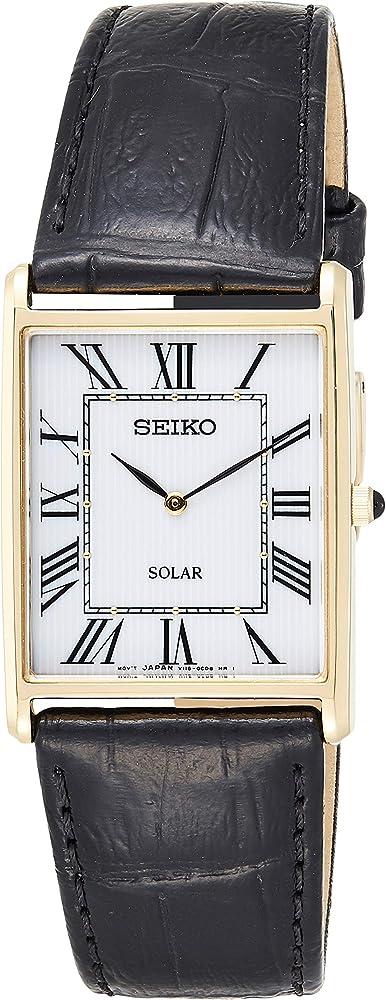 orologio analogico solare uomo con cinturino in pelle seiko sup880p1
