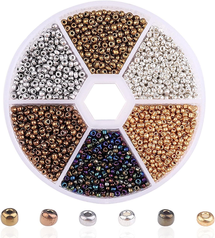 Cuentas de Semillas de Vidrio, 3900 Piezas de 2 mm Cuentas Redondas Lisas Cuentas de Pulsera Para Kit de Fabricación de Joyas Arte y Artesanía (Metal)