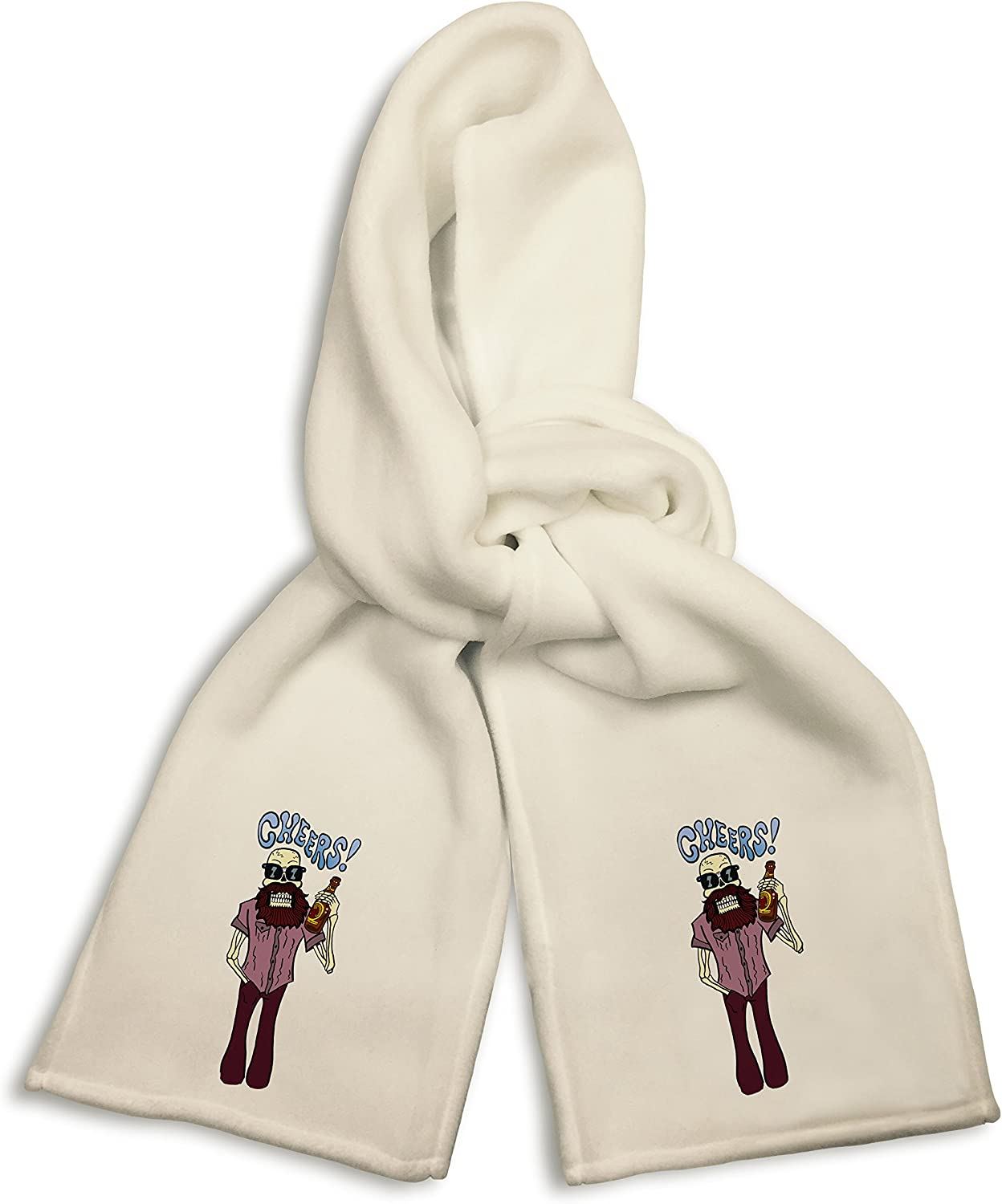 White Winter Scarf - Cheers! Funny Skeleton Drinking Beer