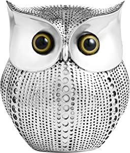 APPS2Car Owl Statue Decor (Silver) Small Crafted Figurines for Home Decor Accents, Living Room Bedroom Office Bookshelf TV Stand Cabinet Fireplace Mantel Decoration Modern Style Decorative Ornaments