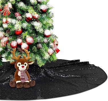 Eternal Beauty Black Sequin Tree Skirt 50Inch Christmas Tree Skirt Embroidered Sparkly Xmas Tree Ornament Christmas Decoratio