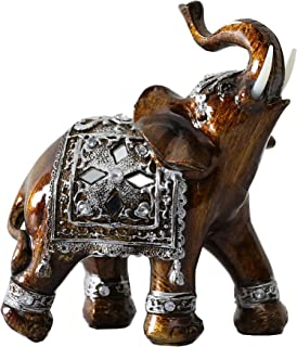 Otartu 5'' Elephant Figurines Statue with Trunk Up for Home Decor (Small-L)