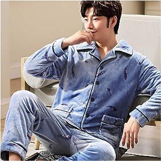 DHDHWL Albornoz Pijamas Otoño Invierno Franela Pijamas para Hombre Espesar Cálido Suave Pijamas Casual Masculino Ropa de Dormir Pijamas 3XL Suave (Color: PJ301Color31, Talla: X-Large174 179 cm)