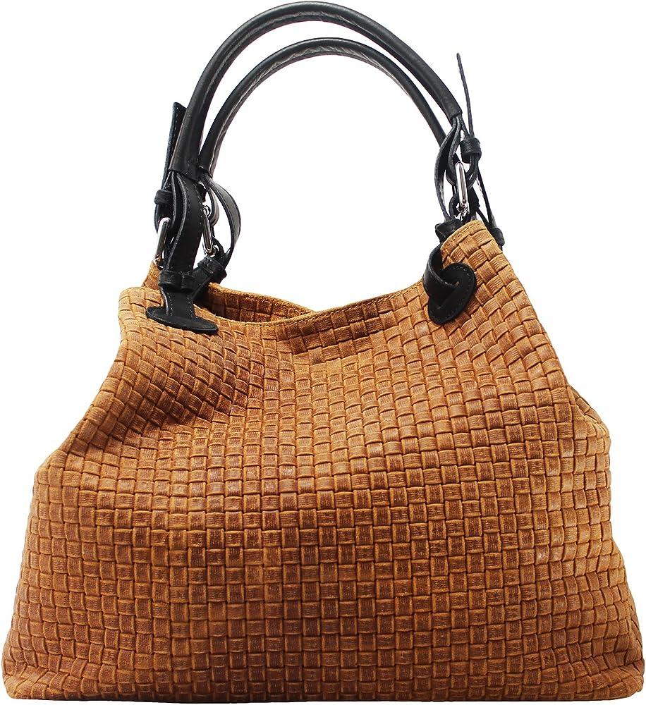 Chicca borse borsa a mano/tracolla da donna in vera pelle 80047-CUOIO