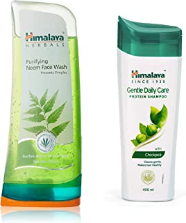 Himalaya Herbals Purifying Neem Face Wash, 300ml And Himalaya Herbals Protein Shampoo with Chickpea, Gentle Daily Care, 400ml