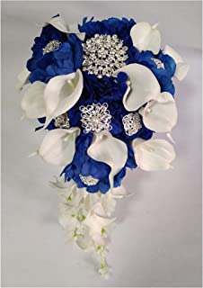 Waterfall Red Wedding Flowers Bridal Bouquets Artificial Pearls Crystal Wedding Bouquets Bouquet De Mariage Rose,Royal Blue