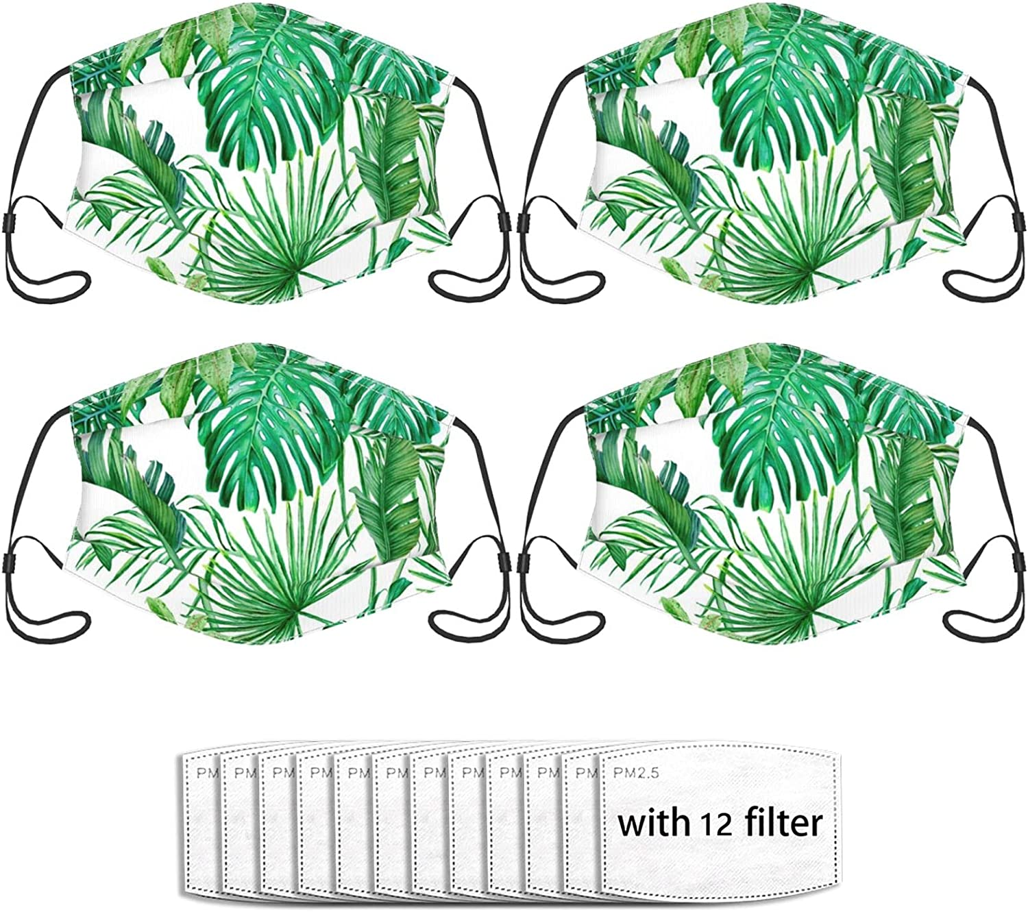 Green Tropical Leaves 4 Reusable Couple Face Masks With 12 Filters, Fashion Balaclava Washable Adjustable Ear Hooks Soft Breathable Outdoor Dust-Proof And Wind-Proof Face Mask