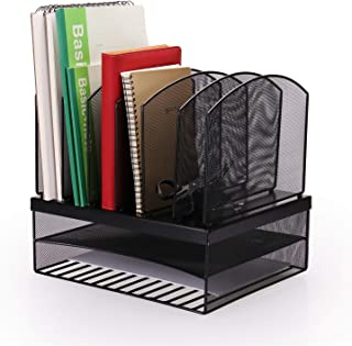 HQD DIRECT Mesh Desk Organizer, Vertical Desktop Organizer with 6 mesh sorter and 2 Tiered Desk Tray, Space-Saving Black File Organizer Desktop, Durable Steel Mesh Construction