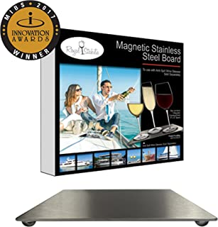 Attractive Magnetic Stainless Steel Board for Anti-Spill Wine Glasses (8''by 8'') Place them strategically on your Boat - no more wine spilling (Anti-Spill Wine glasses sold separately)