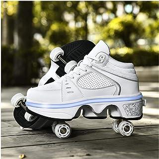 HANHJ Kvinnors utomhusskridskor med hjul, lämpliga för flickor/pojkar, LED-uppladdningsbara skateboardskor infällbara vuxn...