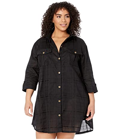 DOTTI Plus Size Travel Muse Shirtdress Cover-Up (Black) Women
