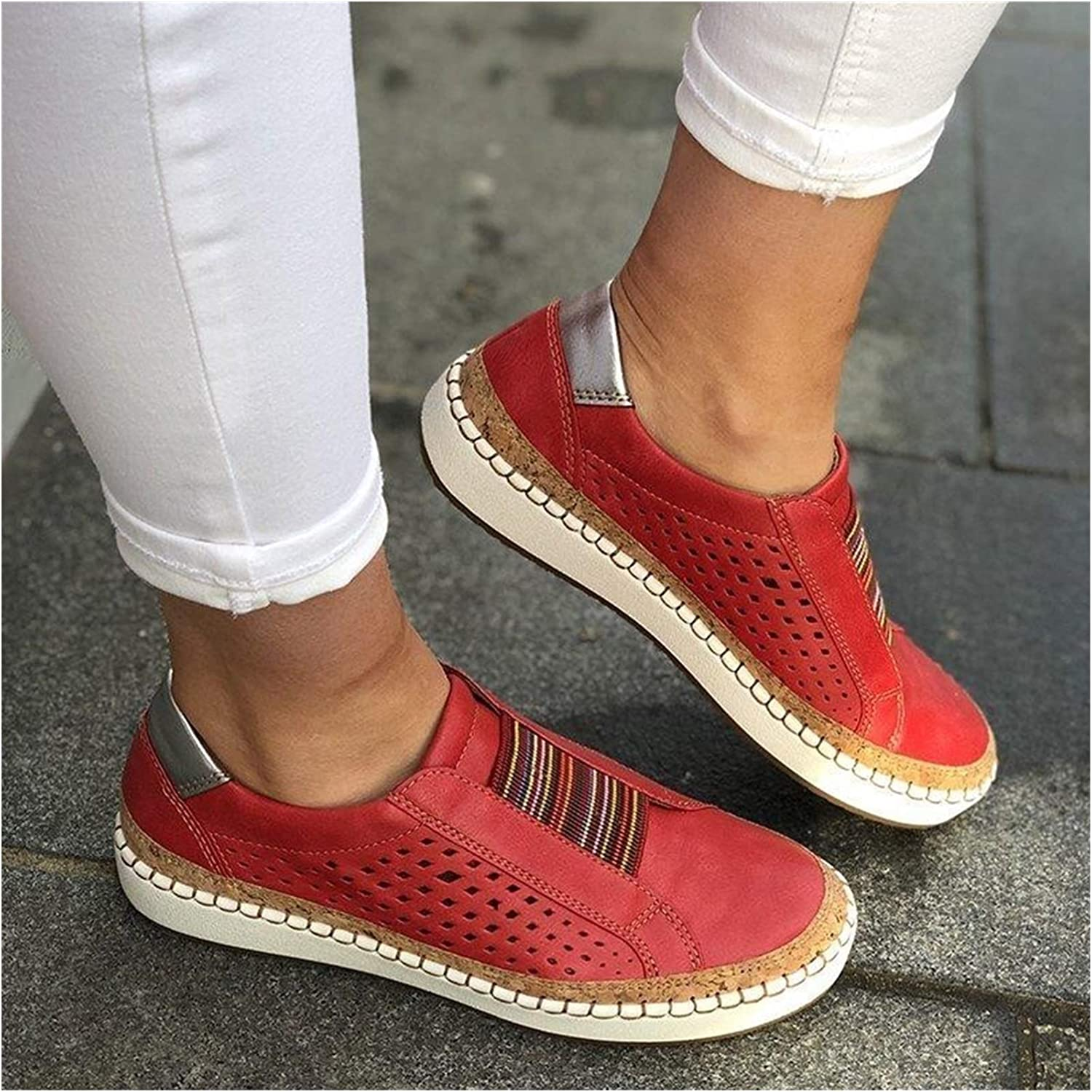 JPMSB New Women's Shoes Hollow 4 years warranty Out Vulcanize Striped Max 82% OFF Woman