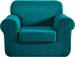 Best CHUN YI Stretch Chair Sofa Slipcover 2-Piece Couch Cover Furniture Protector, 1 Seater Coat Soft with Elastic Bottom, Checks Spandex Jacquard Fabric, Small, Teal Review
