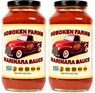 Hoboken Farms Marinara Gourmet Pasta Sauce - No Sugar Added, Non GMO Project Verified, Vegan, Cholesterol Free, Plant Based, Keto & Paleo Friendly, Made with Whole Tomatoes and Pure Olive Oil (2-Pack)