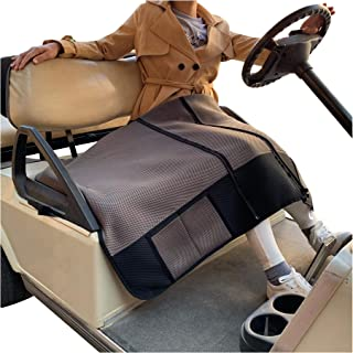 9.99WORLD MALL 10L0L Golf Cart Seat Blanket Fit for Club Car EZGO Yamaha, Warm Bench Seat Covers for Cold Winter Weather, Washable Polyester Mesh Cloth Gray Black Red